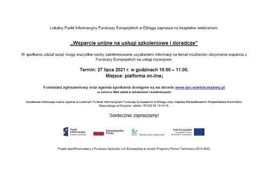Ilustracja do informacji: Wsparcie unijne na usługi szkoleniowe i doradcze