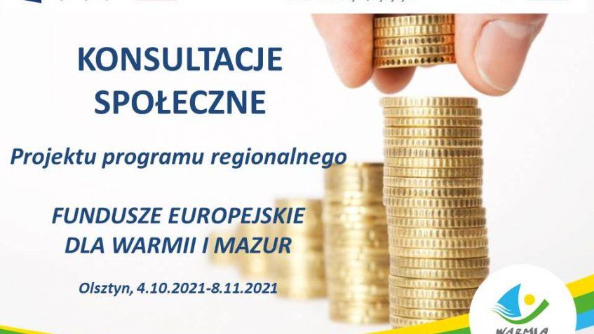Ilustracja do informacji: Konsultacje społeczne projektu programu regionalnego Fundusze Europejskie dla Warmii i Mazur na lata 2021-2027