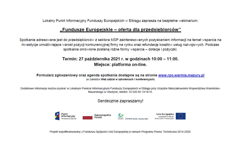 """Ilustracja do informacji: Bezpłatne webinarium """"Fundusze Europejskie - oferta dla przedsiębiorców"""""""