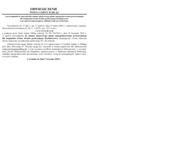 Ilustracja do informacji: Obwieszczenie Wójta Gminy Elbląg